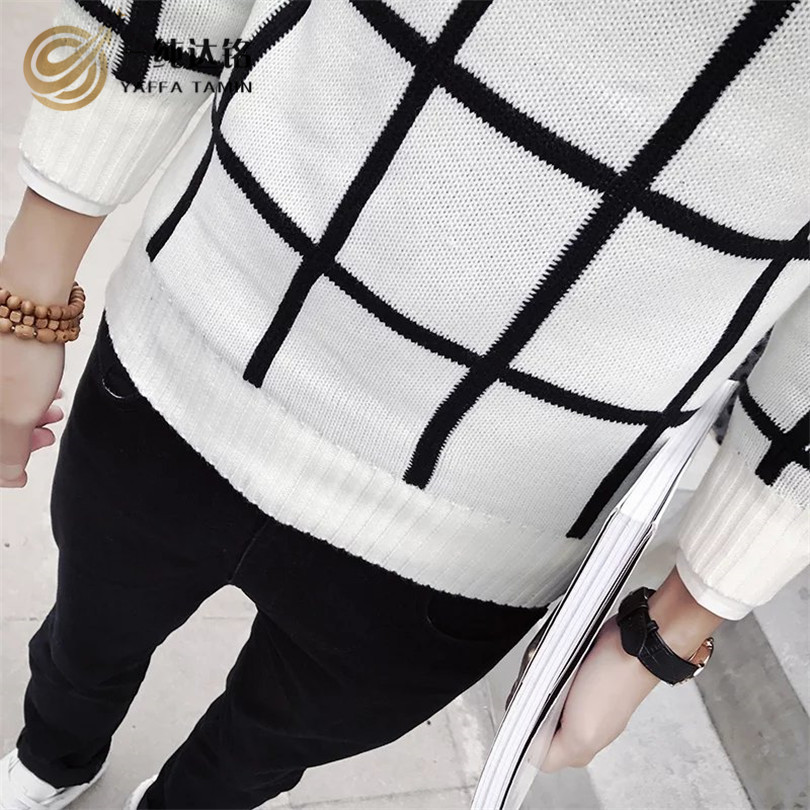 Plaid Sweater Men Brand Pullovers Casual Sweater Male O Collar Stripe Simple Slim Fit Knitting Mens Sweaters Man Pullover Men