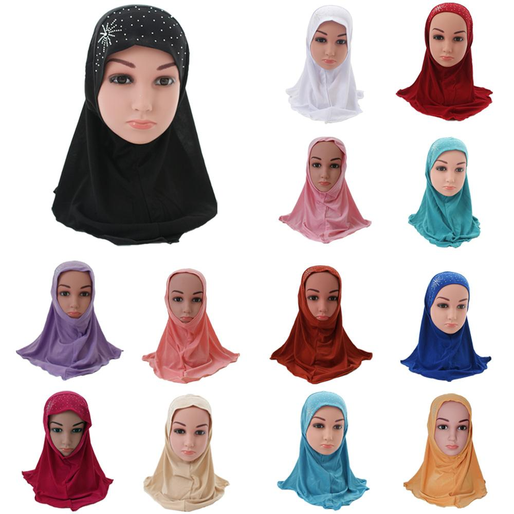 Muslim Kids Girls Hijab Islamic Arab School Headwear Underscarf Scarf Wrap  Middle East Rhinestone Flower Ramadan Headwear Cap H
