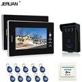 JERUAN Banrd NEW 7`` Color Video Intercom Entry DoorPhone System 2 monitors + 700TVL RFID Access Waterproof Camera FREE SHIPPING