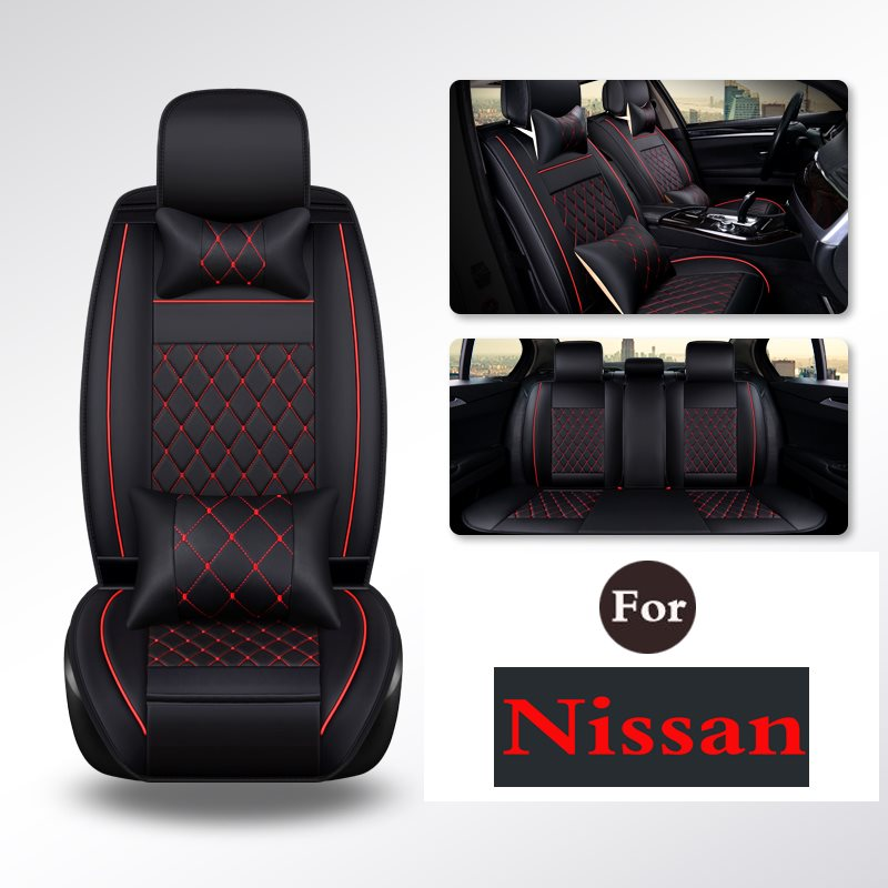 PU Leather Solid Black Car Seat Cover Set Front Back Mats - Universal Fit For Nissan Qashqai X-Trail Paladin Bluebird D22