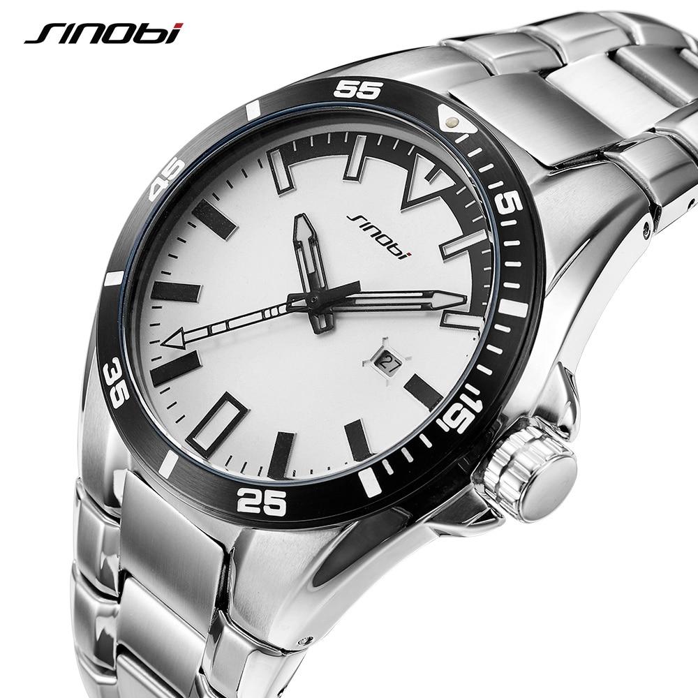 SINOBI Watch Men Full Steel Male Fashoin Wrist Watches Top Brand Luxury Luminous Hands Relogio Masculino Geneva Waterproof Saat