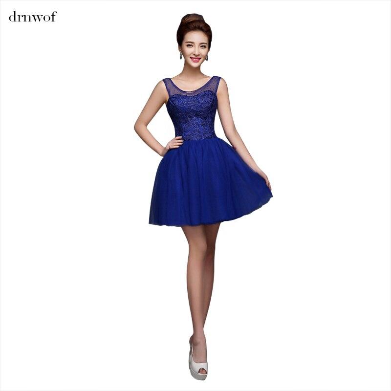 Drnwof New Cheap Short 2017 Royal Blue Bridesmaid Dresses