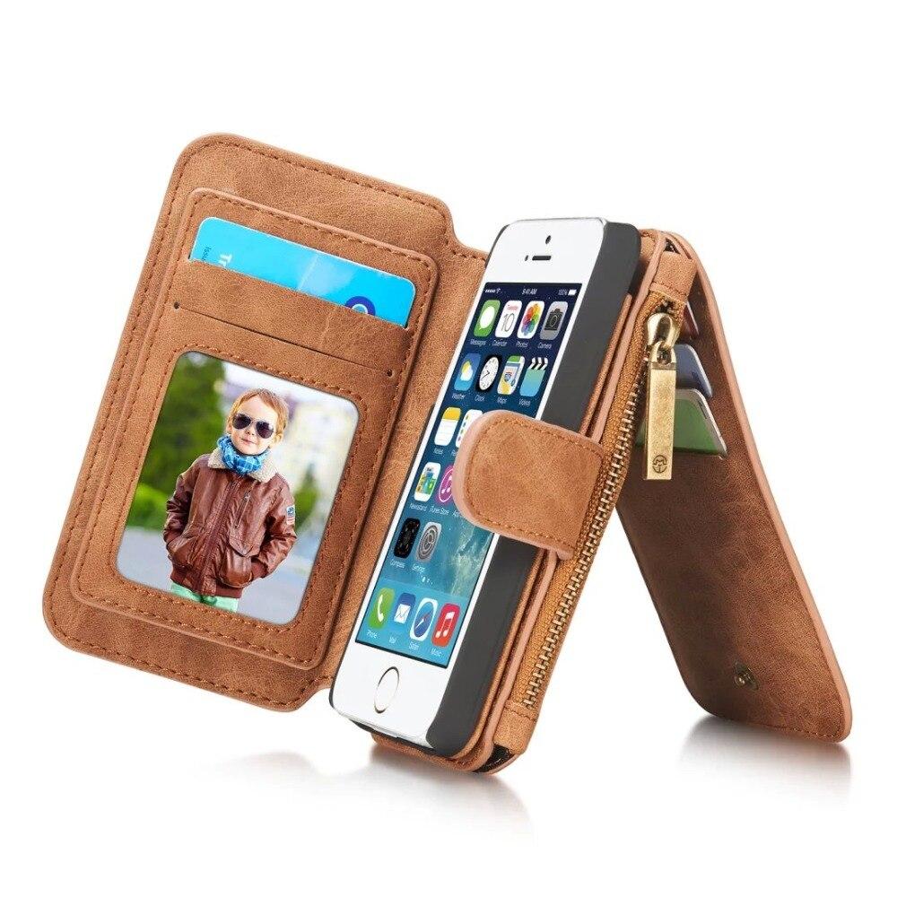 imágenes para Para el iphone Caso Original CaseMe 5S multifuncional de Cuero Genuino de la Vendimia monedero Bolsa de las Cajas Del Teléfono Celular Para el iphone 5 5S SÍ cubierta