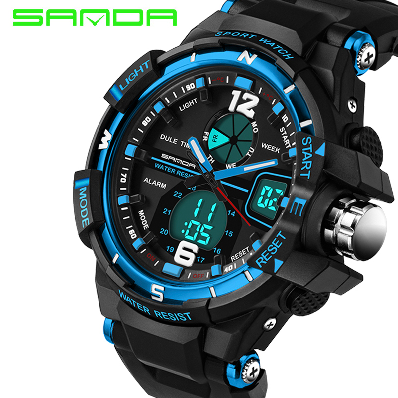 Mann Uhr 2017 Sanda Sport Uhr Digitale Stoßfest Stoppuhr Armbanduhren Outdoor Military Led Hodinky Relogio Masculino Digitale Uhren