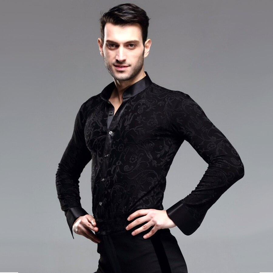 2019 New Man Ballroom Dance Tops Long Sleeve Mens Latin Shirts Lapel/Collar 50-90kg Practice/Performance Dancewear Top JDQ5007