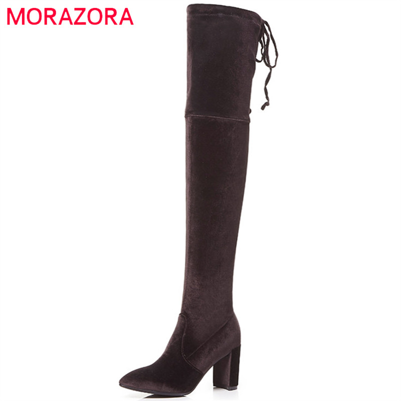 MORAZORA B-JM00538 stretch long boots for women over the knee boots was thin kid suede leather boots fashion elegant цены