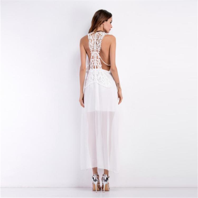 White Long O-neck Lace Beach Maxi Dress