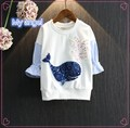 Retail hoodies kids Girls of 2016 whales sequins stripe sleeve splice fleece sweatshirt girls