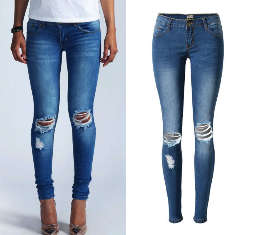 Fashion Low Waist Ripped Jeans Women Super Elastic Hole Women Jeans Wild Blue Skinny Jeans Push Up Vintage Pantalon Femme XXL 2011 2017 summer overalls women jeans fashion elastic skinny jeans women harajuku pantalon femme push up denim jeans womens