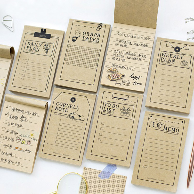 Vintage Kraft Paper Weekly Planner Memo Pad Post It Note To Do List  For Kids Stationery School Supplies Student