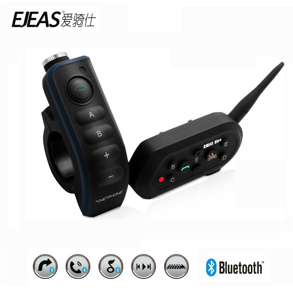 EJEAS E6 Più Moto Intercom 1200 M Communicator Casco Bluetooth Interphone Auricolari VOX con Telecomando per 6 Riders