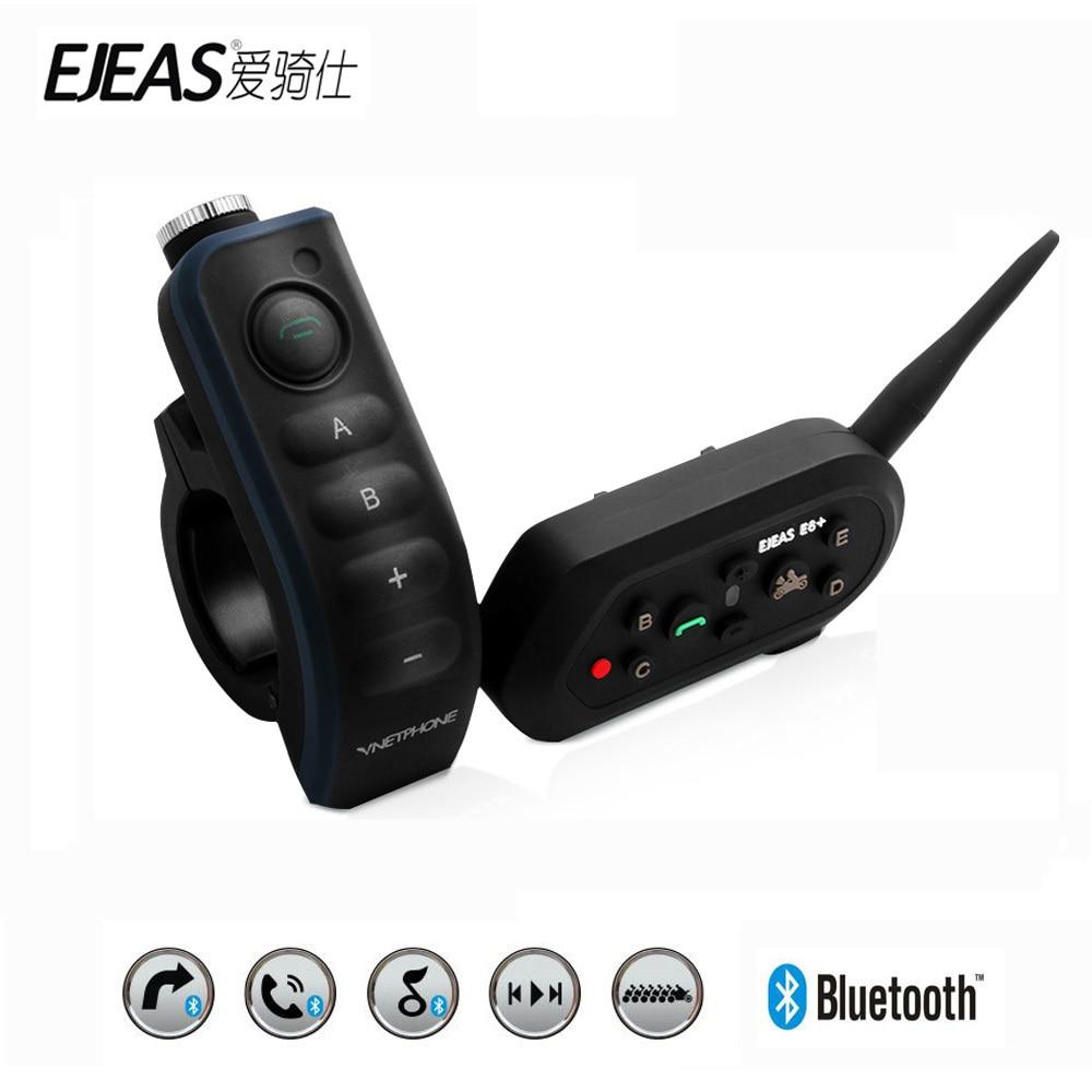 Ejeas E6 плюс мотоциклов домофон 1200 м коммуникатор Bluetooth Шлем переговорные гарнитуры VOX с дистанционным Управление для 6 гонщиков