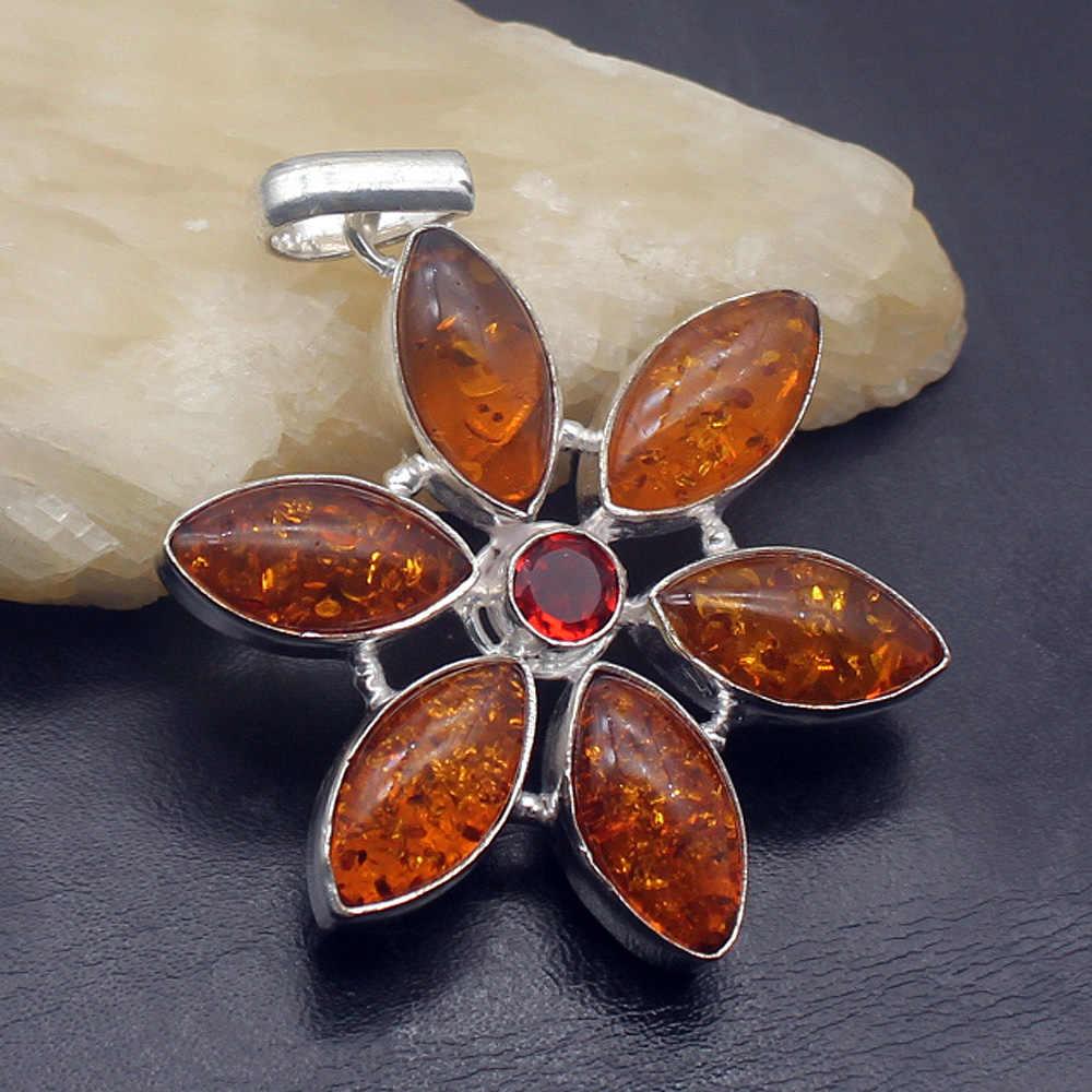 49% OFF Thời Trang Tự Nhiên Baltic Amber925 Sterling Bạc Quyến Rũ Mặt Dây Chuyền Vòng Cổ Trang Sức 2 1/4 INCH PT115