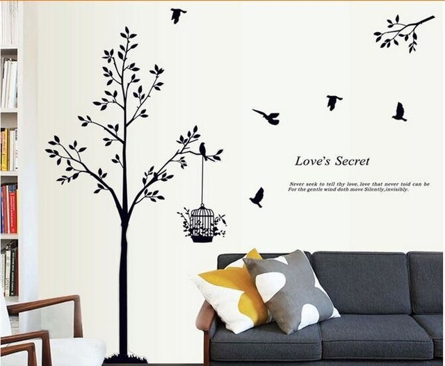165*150cm(65*59inch) Black tree Bird Cage Vinyl Wall Decals For Living Room/Bedroom Wall Stickers Home Decoration Wallpapers 2