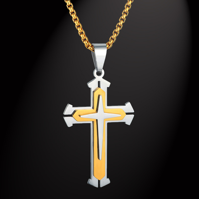 44275b915a1f 316L Acero inoxidable caja Cadena 3 capas Caballero Cruz collar Color dorado  joyería cristiana regalo masculino