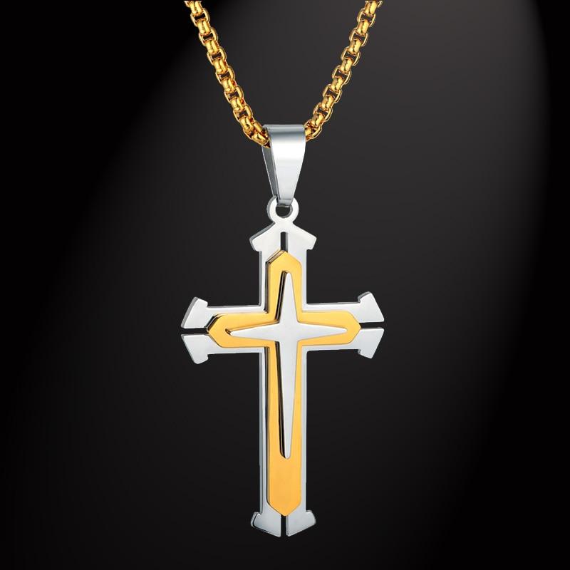 316L Cadena de caja del acero inoxidable 3 capa Caballero Cruz collar oro color joyería cristiana macho regalo para mujer para hombre colgante de collar