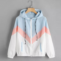 FeiTong Women Windbreaker Jacket Female Multicolor Patchwork Hooded Jacket Basic Jackets Color Block Coats For Women