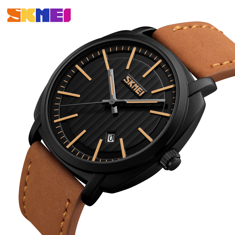 SKMEI Brand Men's Fashion Casual Sport Watches Men Waterproof Leather Quartz Watch Man Military Wristwatch Relogio Masculino