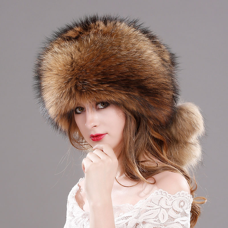Pompom Hats Real Fox Fur cap Female Beanies Hat Natural Raccoon Fur Knitted Beanies for Women's Winter real fur Hat cap