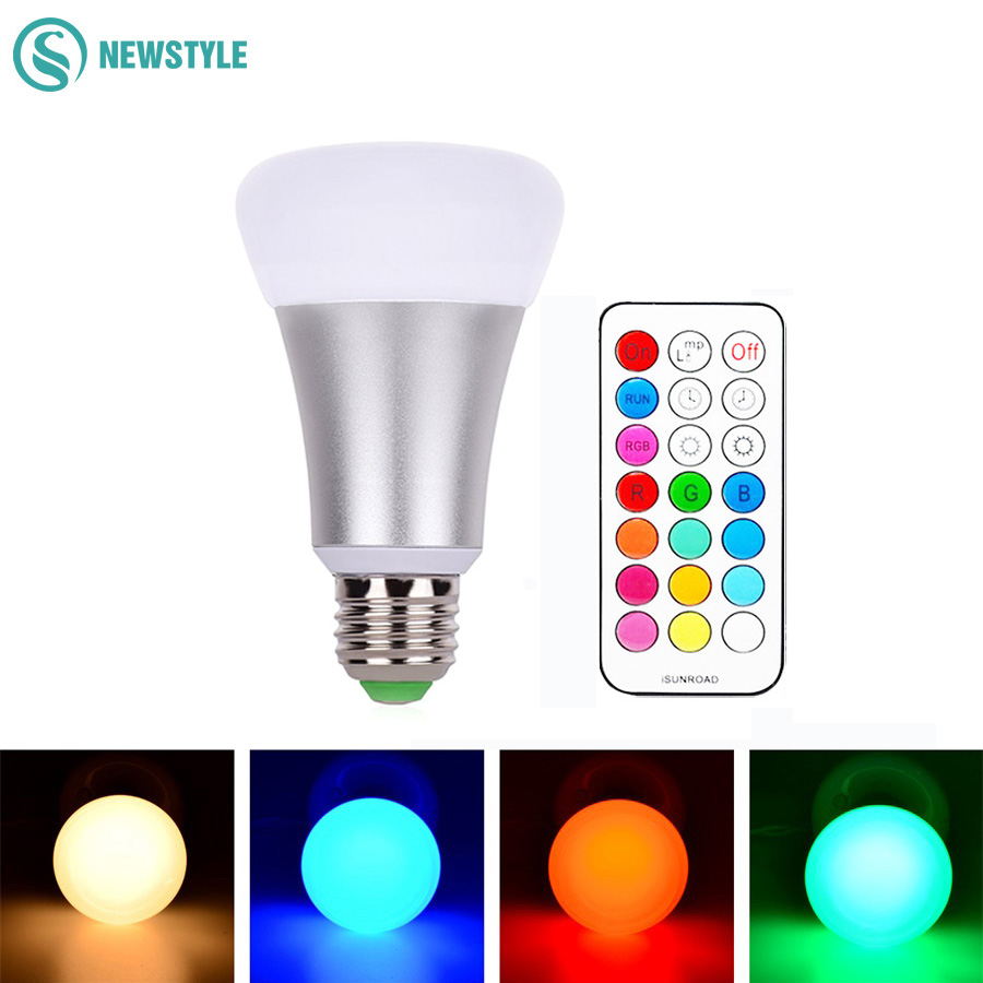 E27 LED Bulb 10W RGB LED Bulb Lamp 12 Colors Remote Control Led Light for Home Decoration Stage Lighting Led Lamp new rf 315 e27 led lamp base bulb holder e27 screw timer switch remote control light lamp bulb holder for smart home