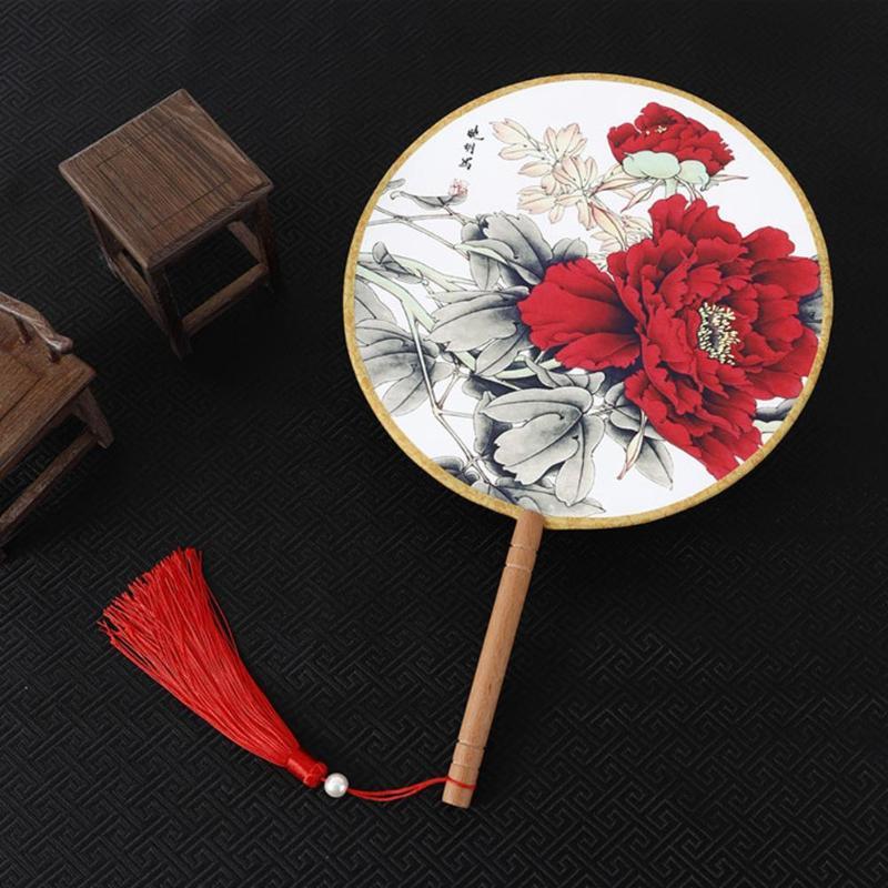Traditional Chinese Silk Fan Flower Tassel Antique Dance Round Fan Photo Props Retro Home Decor Decorative Fans
