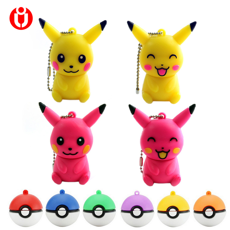 New Mini Pen Drive Pokemon Pikachu Gift Pen Drive 8gb 16gb 32gb 64gb Keychain Cartoon Pokeball Usb Flash Drive Pendrive 8gb 64gb Computer & Office