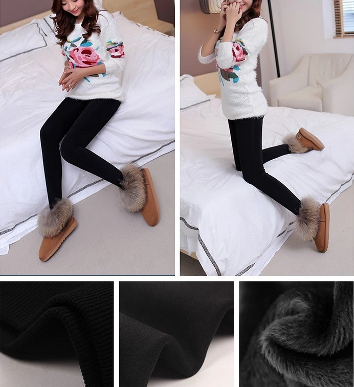 CHRLEISURE New Winter Thick Velvet Pants Female Warm Outer Wear High Waist Pants Were Thick Stretch Pants Stepped Foot legging 10