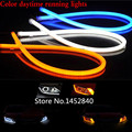 2X85 CM Car Flexible Led Tube Strip DRL Lights with White/Amber Dual Color Function Headlight Tear Strip Daytime Running Light