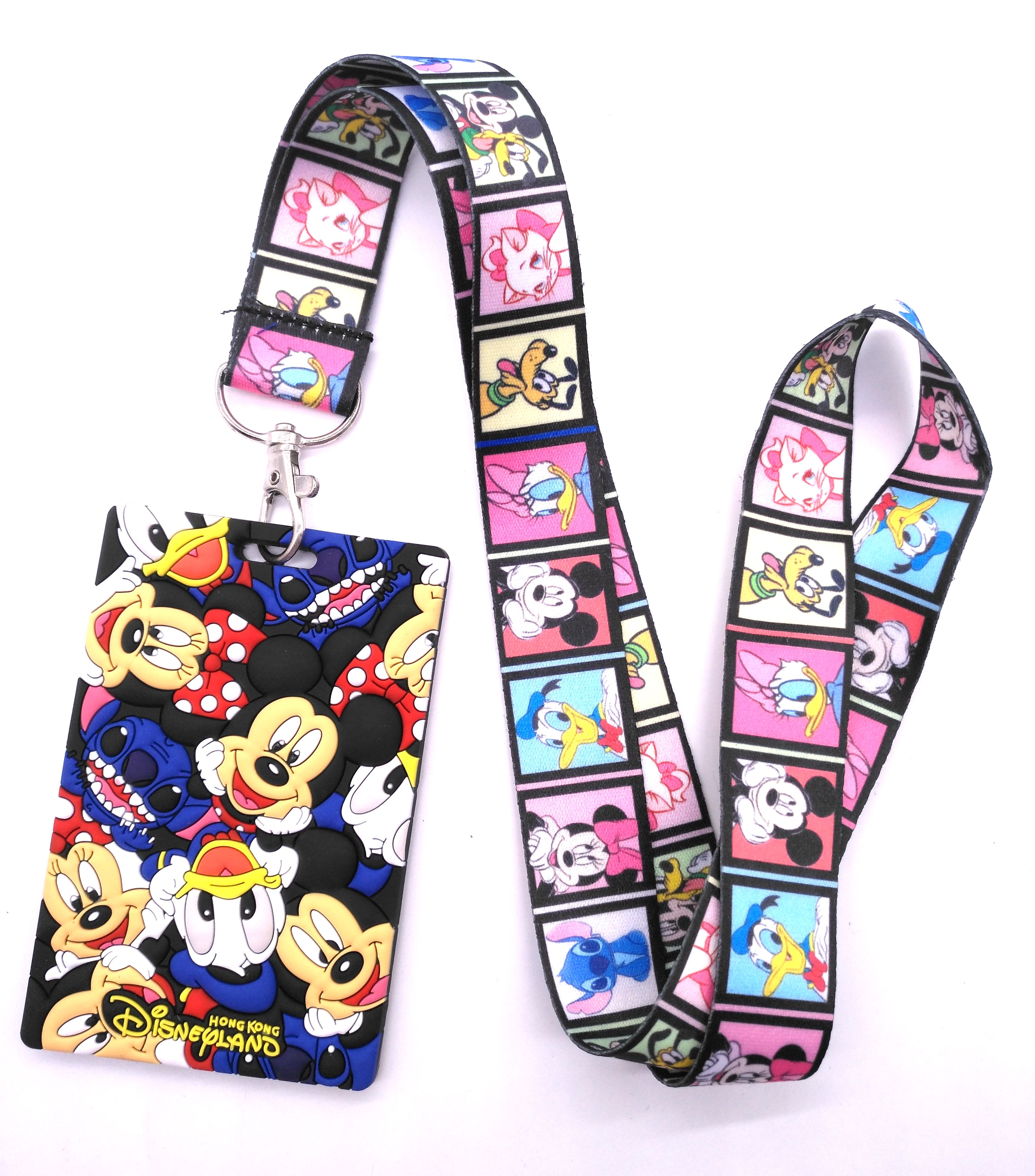 1 Pcs Cartoon Mickey Minnie Stitch Marie Cat Head   Lanyard Key Chains Card Holders Bank Card Neck Strap Card Bus ID Holders  V4
