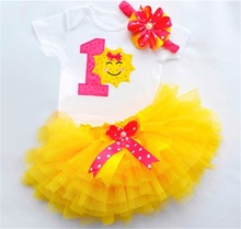 Yellow Sunshine Baby Girl First Birthday Outfit