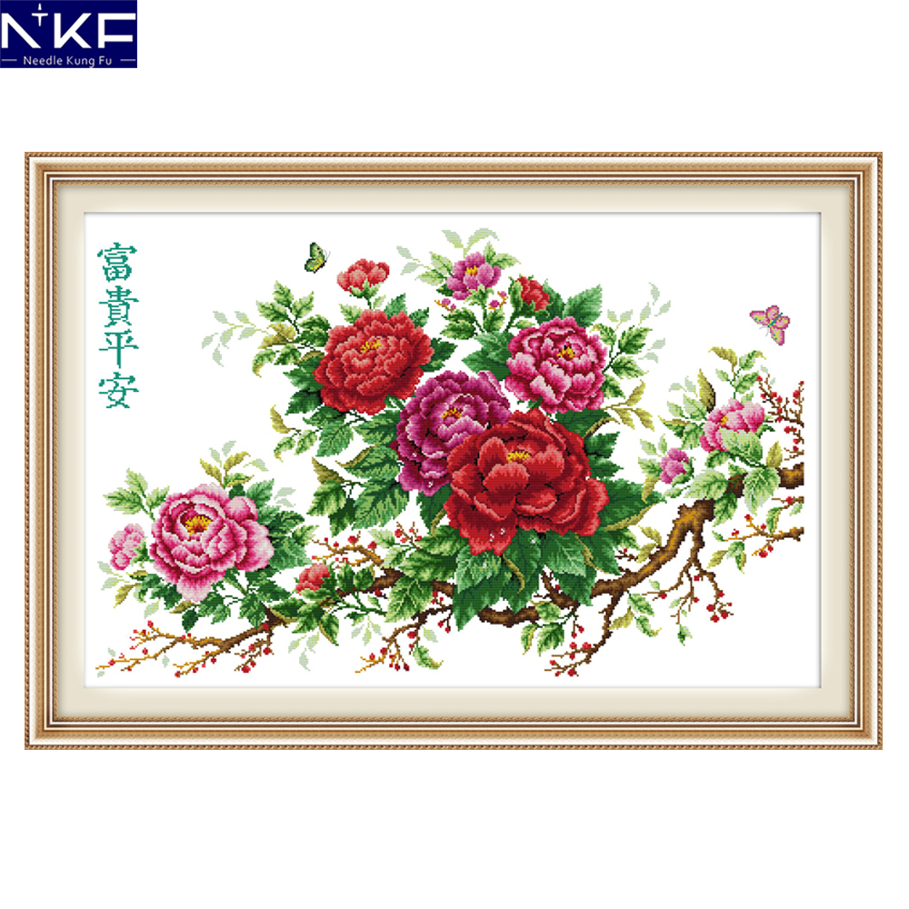 NKF Riches Honour And Peace Flower Style Needlework Embroidery Sets Stamped Counted Cross Stitch Patterns For Home Decoration
