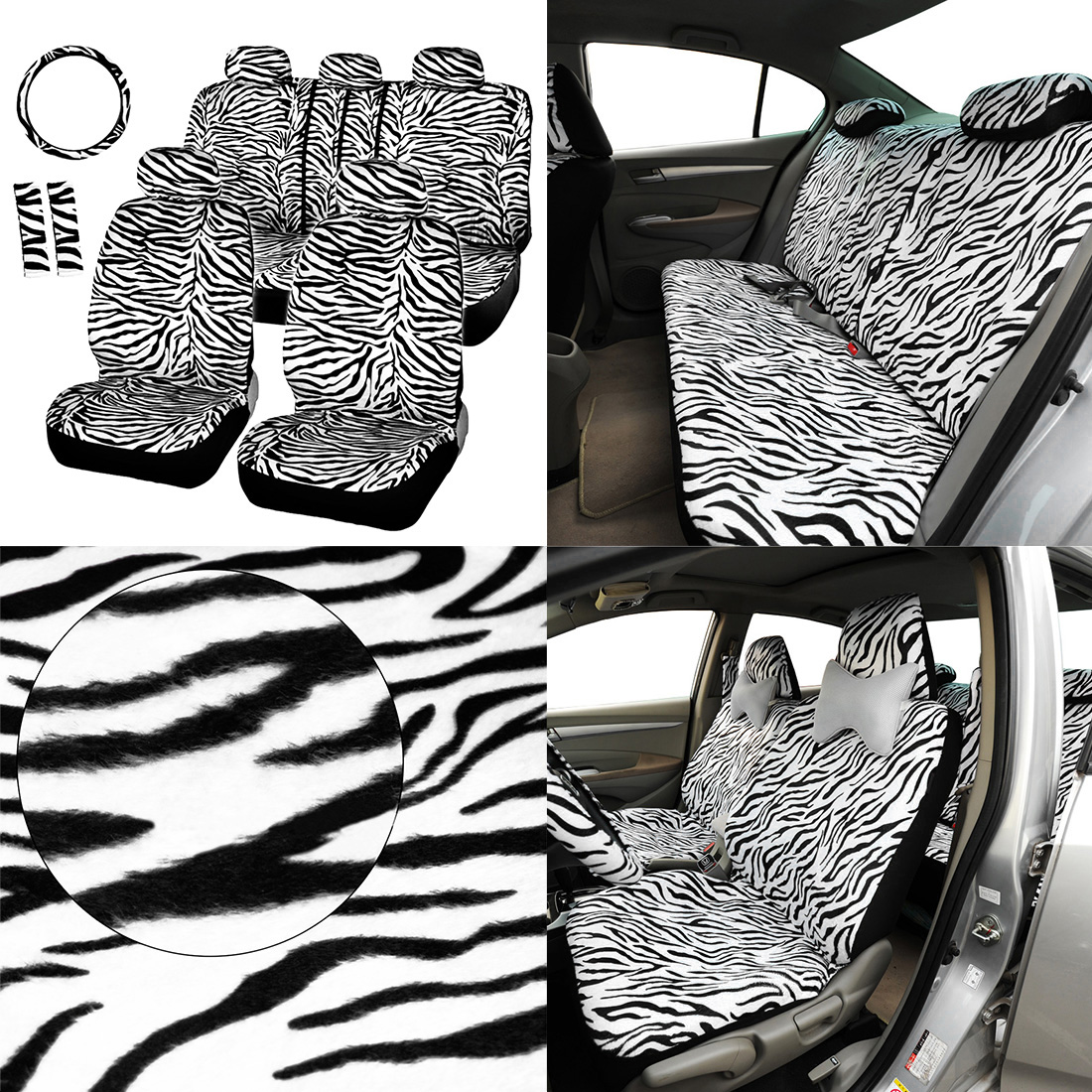 Dewtreetali Seat Cover Protector Car Steering Wheel Cover Shoulder Pad Car-styling Luxury Zebra Seat Covers Universal Fit Most dewtreetali universal automoblies seat cover four seaons car seat protector full set car accessories car styling for vw bmw audi