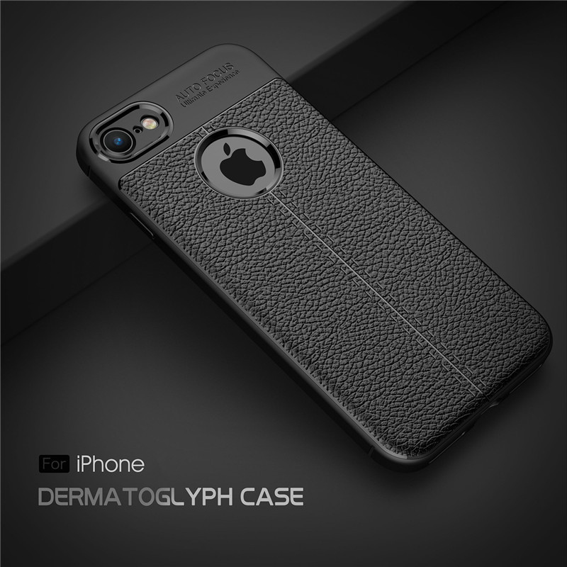 New Case For iPhone 7 Leather Business Litchi Pattern PU Soft TPU Silicone Back Cover Case For Apple iPhone 7 5 6 6s 7 Plus Case