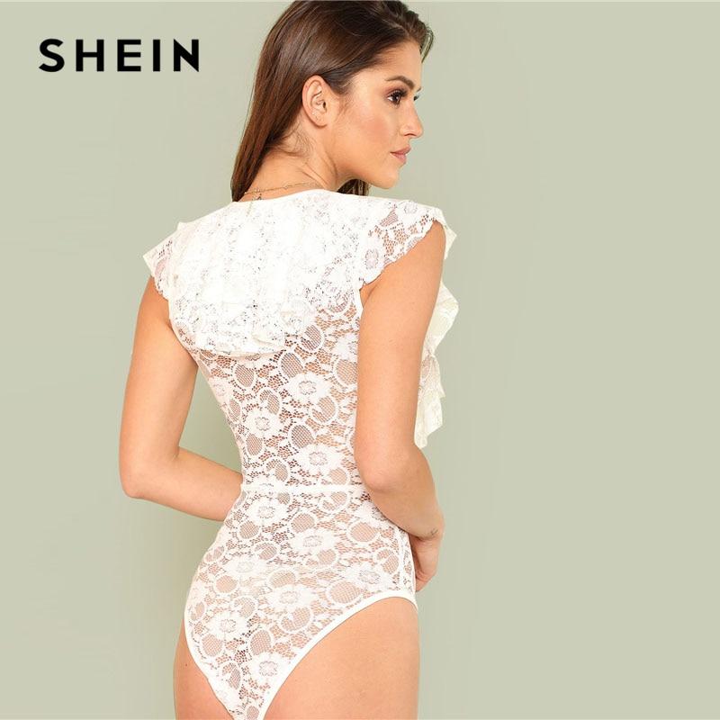 Aliexpress.com   Buy SHEIN Sexy Flounce Embellished Sheer Lace Bodysuit  Women White Deep V neck Sleeveless Plain Teddies 2018 Summer Slim Bodysuit  from ... 25ac66a24