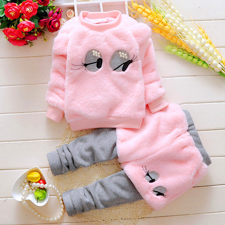 New winter baby girl clothing sets fleece sports children clothes long sleeve cotton eyelash hoodies and Pant kid clothing set fashion brand autumn children girl clothes toddler girl clothing sets cute cat long sleeve tshirt and overalls kid girl clothes