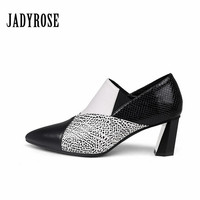 Jady Rose Fashion White Women Shallow Slip On Shoes Autumn Winter Ankle Boots High Heel Feminina Shoes Women Mixed Colors Pumps