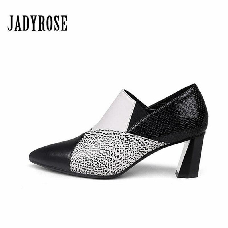купить Jady Rose Fashion White Women Shallow Slip On Shoes Autumn Winter Ankle Boots High Heel Feminina Shoes Women Mixed Colors Pumps недорого