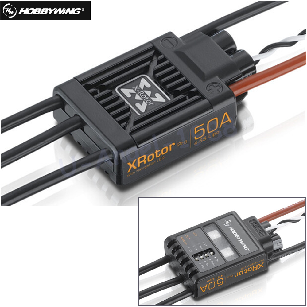 2 Pcs 100% Original Hobbywing XRotor Pro 50A 4-6S Brushless speed controller ESC Multi-Rotor Aircaft DIY For RC Drone Heli  free shipping 2pcs lot hobbywing platinum 30a pro 2 6s electric speed controller esc opto specially for multi rotor