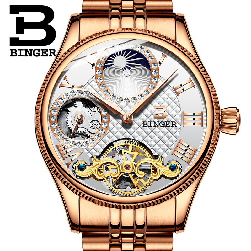 2017 New Mechanical Men Watches Binger Role Luxury Brand Skeleton Wrist Waterproof Watch Men sapphire Male reloj hombre B1175-5 new binger mens watches brand luxury automatic mechanical men watch sapphire wrist watch male sports reloj hombre b 5080m 1