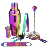 Stainless Steel Cocktail Shaker Set 8Pcs Colorful Bartender Kit 550ml 750ml Cocktail Whisk Bar Tools Wine Shakers For Party