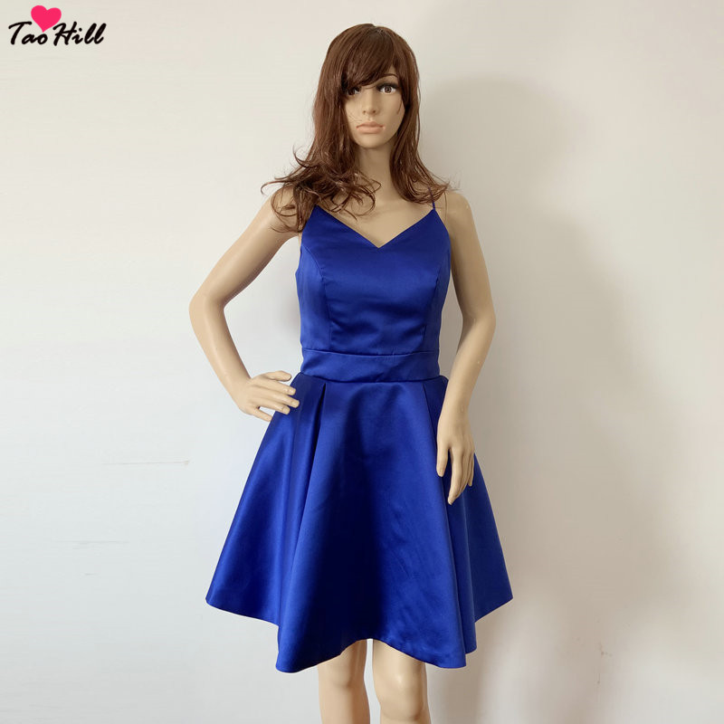 TaoHill Royal Blue   Cocktail     Dresses   Spaghetti Strap Mini Sexy Backless Bowknot Sleeveless V Neck Party   Dress   Gown Cheap
