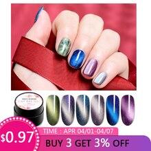 MEET ACROSS 5ml Magnetic 5D Cat Eyes Gel Nail Polish Starry Sky Jade Effect Soak Off UV Varnish Manicure Art Lacquer