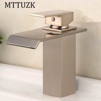 MTTUZK brass brushed nickel/chrome waterfall faucet bathroom single handle Square faucet bath washbasin cold and hot mixer taps