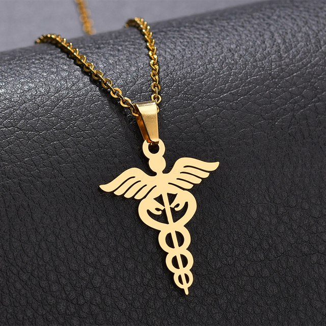 Letdiffery Double Snake Wings Necklaces Titanium Steel Animal Cobra Caduceus Pendant Necklace Medical Symbol Nurse Doctor Gifts