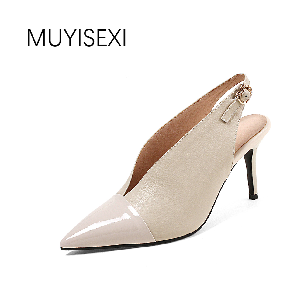 slingbacks summer sexy women shoes high heel 8cm genuine leather pointed toe women pumps black apricot DMJ04 MUYISEXI women high heel shoes women slingbacks sandals genuine leather solid color black white summer fashion casual shoes round toe