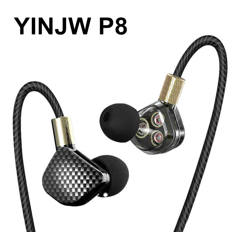 YINJW P8 Three Dynamic Driver System Speakers HIFI Bass Subwoofer In Ear Earphone Stereo Sports Earphone Monitor Earbud Headset buy monitor with speakers