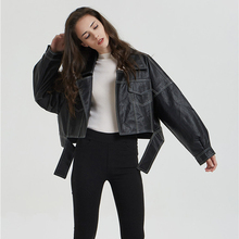 2019 New Spring Relaxed Leather Jackets Women Fashion BF-Style Oult Streetwear Female Imitation Jeans Casual PU