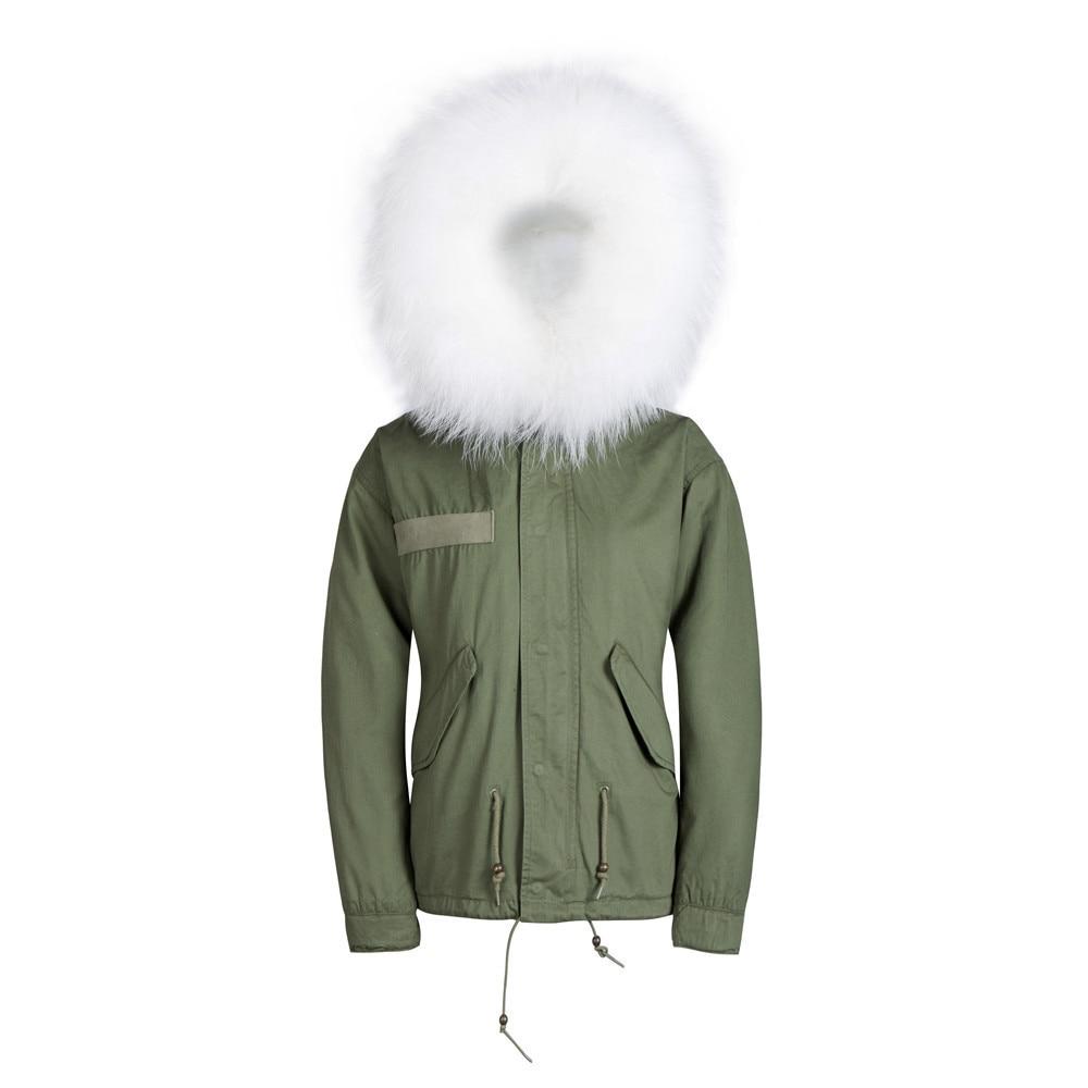 Новая мужская мода, тонкая белая короткая парка с воротником из искусственного меха, куртка с отворотом, верхняя одежда, пальто, горячая распродажа, зимняя меховая куртка для мужчин - Цвет: Армейский зеленый