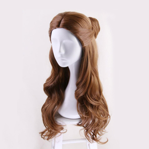 Image 3 - Beauty and the Beast Princess Belle wig Cosplay Costume Women Long Wavy Synthetic Hair Halloween Party Role Play wigs