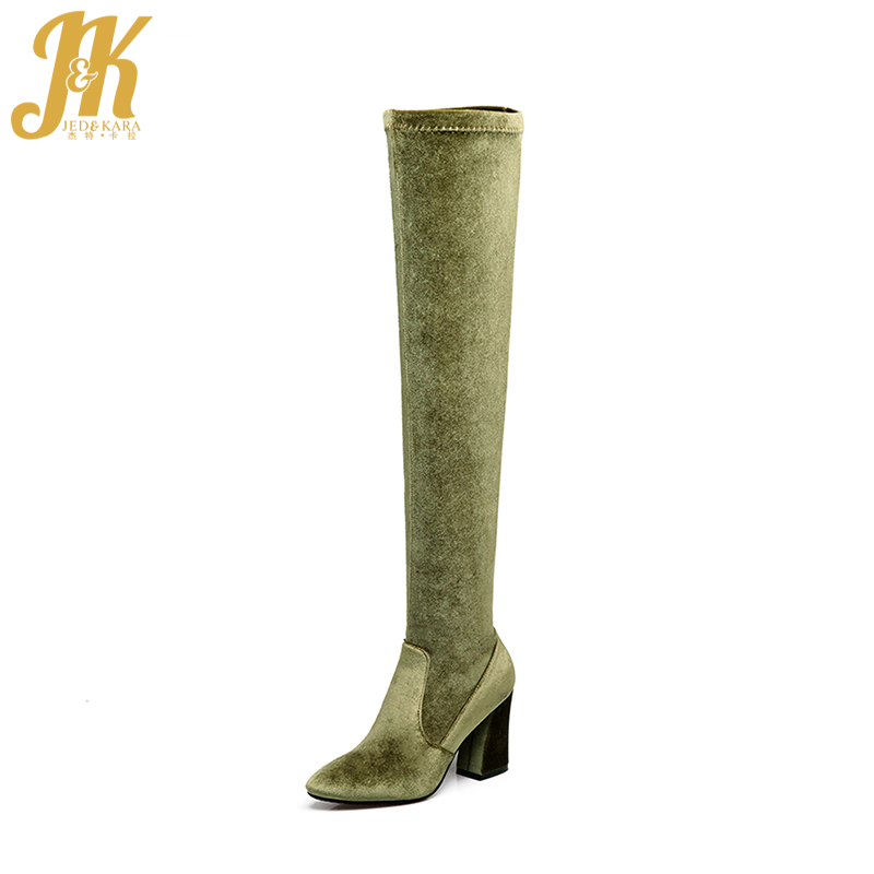 Thick High Heels Stretch Boots Flannel Velvet Shoes Female 2018 Autumn Over The Knee Elastic Boot Warm Hoof Heels Footwear Woman 20cm high height sex boot pu platform hoof heels over the knee boot no wg11b